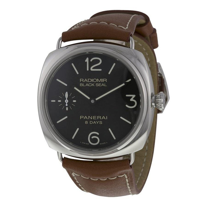Panerai Radiomir Black Seal 8 Days Acciaio Mechanical Hand Wind Mechanical Brown Leather Watch PAM00609
