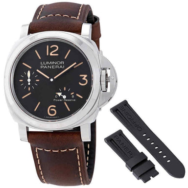 Panerai Luminor 8 Days Power Reserve  Hand Wind Brown Leather Watch PAM00795
