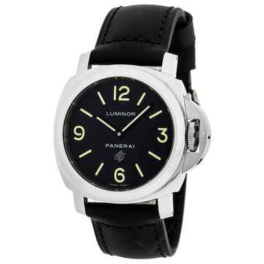 Panerai Luminor Calibre OP I Hand Wind Automatic Black Leather Watch PAM01000