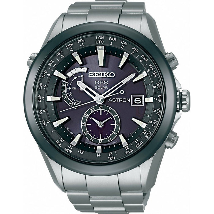 Seiko Astron GPS Solar Solar World Time Titanium Watch SAST003