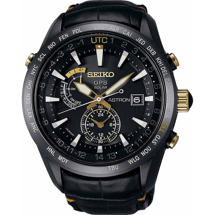 Seiko Astron GPS Solar Limited Edition Solar World Time Black Leather Watch SAST100