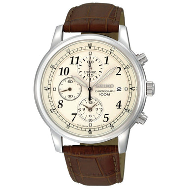 Seiko  Quartz Chronograph Brown Leather Watch SNDC31