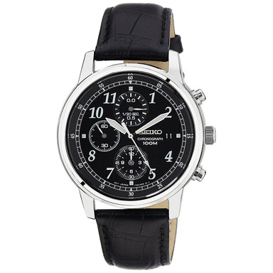 Seiko  Quartz Chronograph Black Leather Watch SNDC33