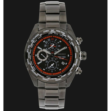 Seiko World Timer Quartz Chronograph Black Stainless Steel Watch SPL037