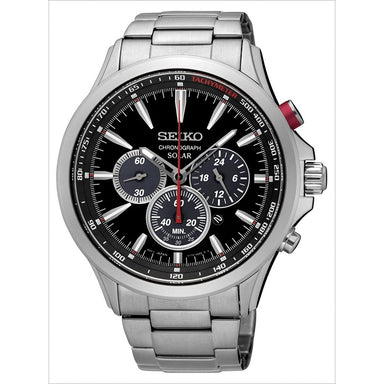 Seiko Solar Solar Chronograph Stainless Steel Watch SSC493