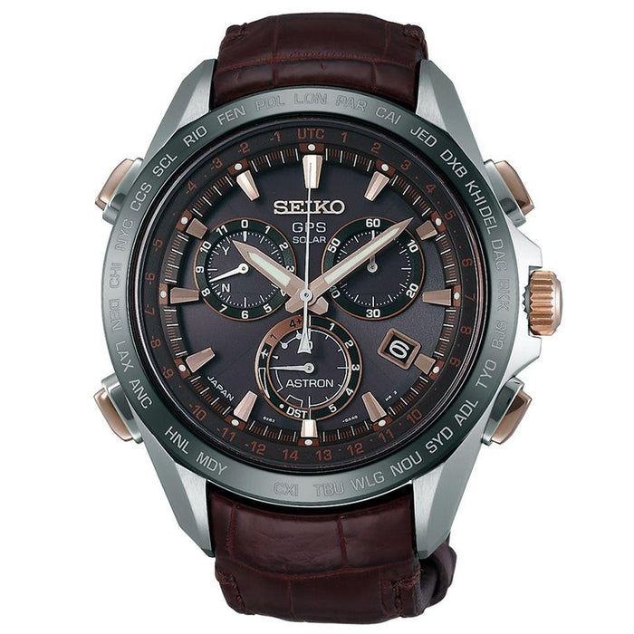 Seiko Astron GPS Solar Solar Chronograph World Time Brown Leather Watch SSE025