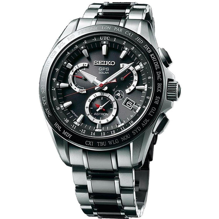 Seiko Astron GPS Solar Solar Chronograph World Time Two-Tone Titanium and Ceramic Watch SSE041
