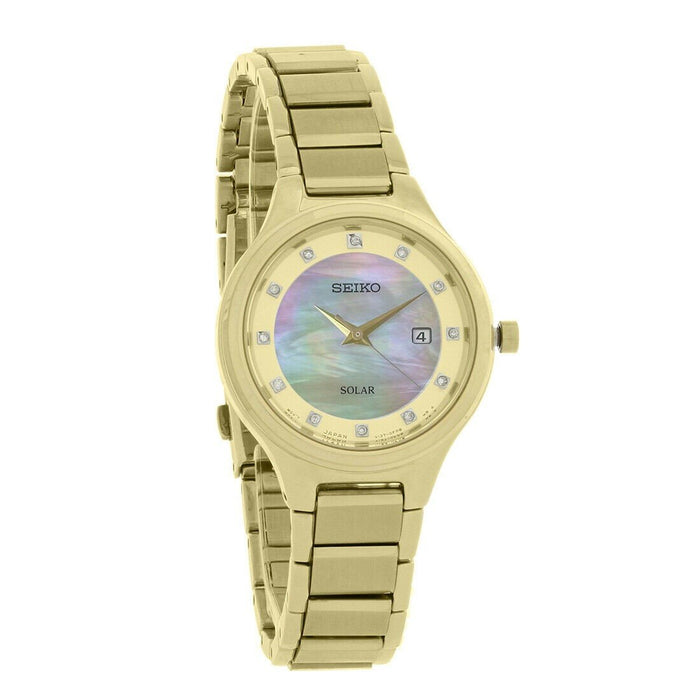 Seiko Solar Solar Gold-Tone Stainless Steel Watch SUT320