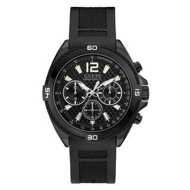 Guess Casual Quartz Chronograph Black Silicone Watch U1168G2