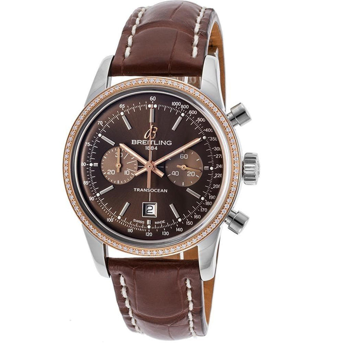 Breitling Transocean 38 Automatic 18kt Rose Gold Chronograph Automatic Brown Leather Watch U4131053-Q600LS
