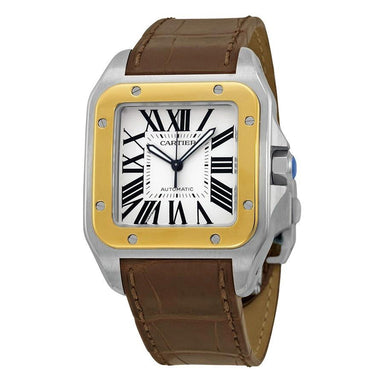 Cartier Santos 100 XL Automatic 18k Gold Automatic Brown Leather Watch W20072X7