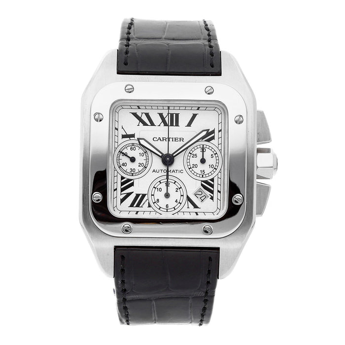Cartier Santos Automatic Chronograph Automatic Black Leather Watch W20090X8