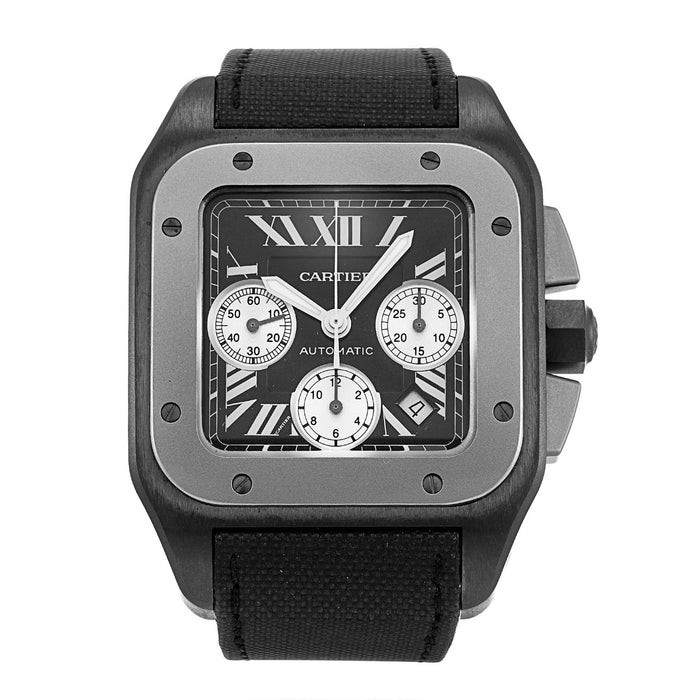 Cartier Santos Automatic Chronograph Black Fabric Watch W2020005