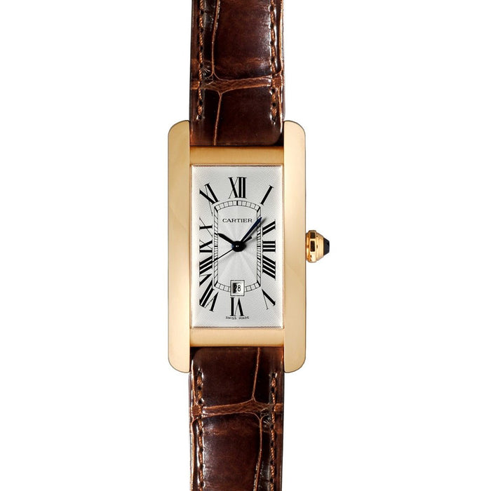 Cartier Tank Automatic Brown Leather Watch W2620030