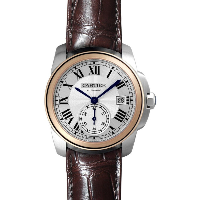 Cartier Calibre De Cartier Automatic 18 Kt Rose Gold Automatic Brown Leather Watch W2CA0002