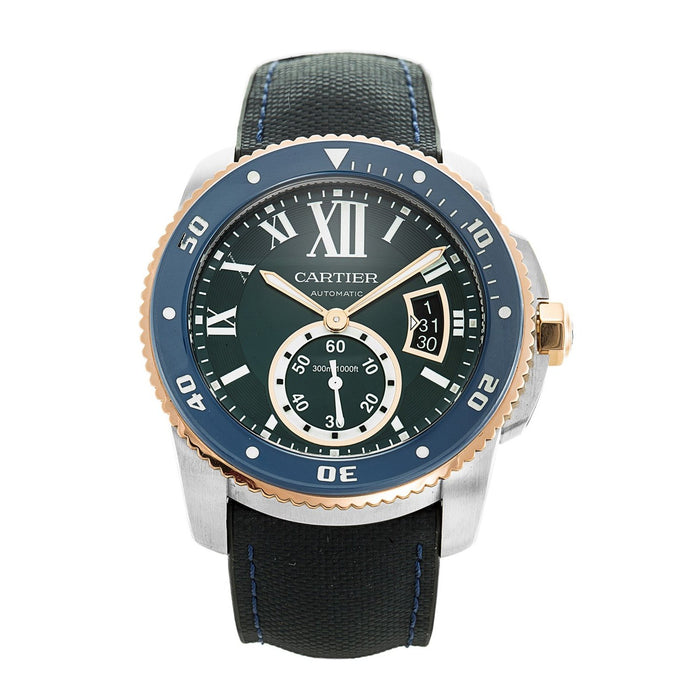 Cartier Calibre De Cartier Automatic Blue Leather Watch W2CA0008