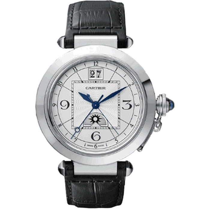 Cartier Pasha Automatic Black Leather Watch W3109255