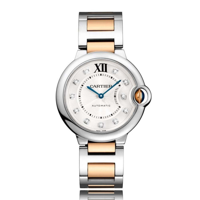 Cartier Ballon Bleu Automatic Diamonds Two-Tone 18K Rose Gold-Tone Stainless Steel Watch W3BB0018