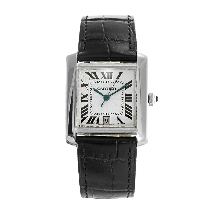 Cartier Tank Automatic Blue Leather Watch W5001156