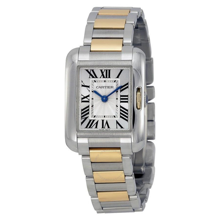 Cartier Tank Anglaise Quartz 18k Rose Gold Two-Tone Stainless Steel Watch W5310036