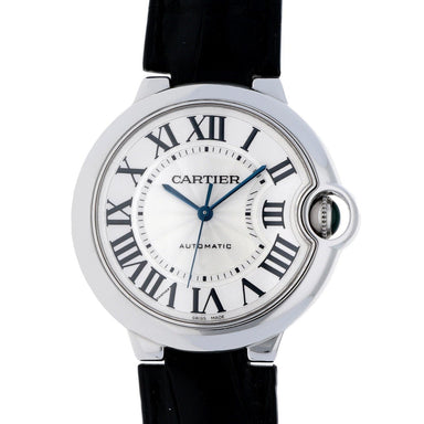 Cartier Ballon Bleu Automatic Black Leather Watch W6900556