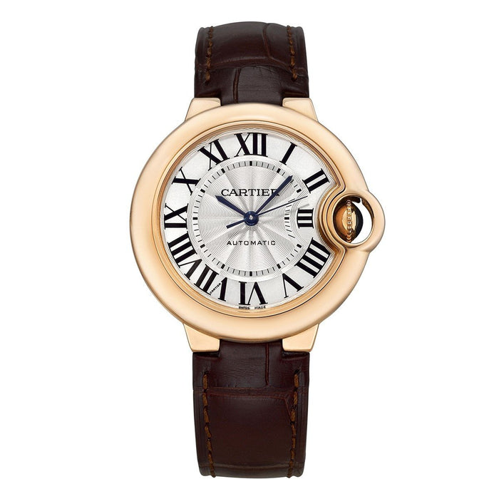 Cartier Ballon Bleu Automatic Brown Leather Watch W6920097