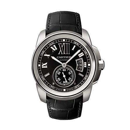 Cartier Calibre De Cartier Automatic Black Leather Watch W7100014