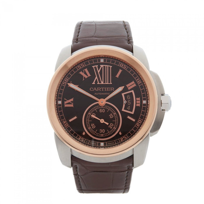 Cartier Calibre De Cartier Automatic Brown Leather Watch W7100051