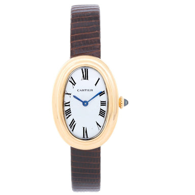 Cartier Baignoire Quartz Gold-Tone Leather Watch W8000009