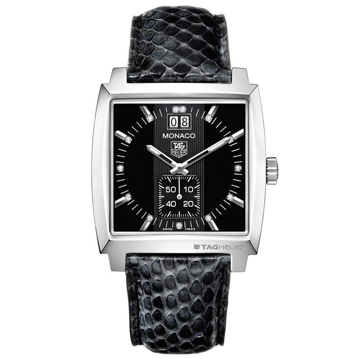 Tag Heuer Monaco Quartz Diamond Black Leather Watch WAW1310.FC6216