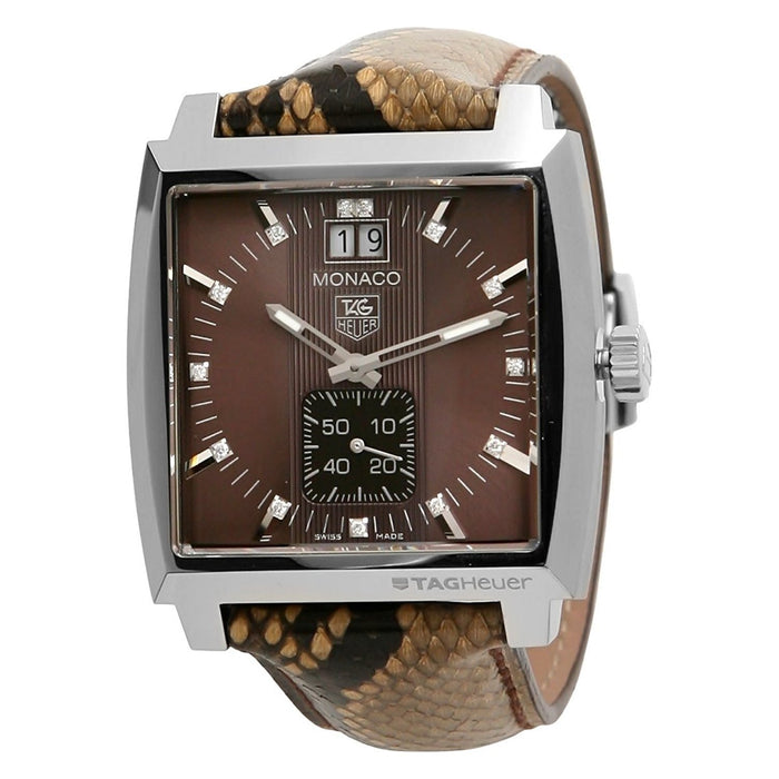 Tag Heuer Monaco Quartz Brown Python leather Watch WAW1315.FC6217