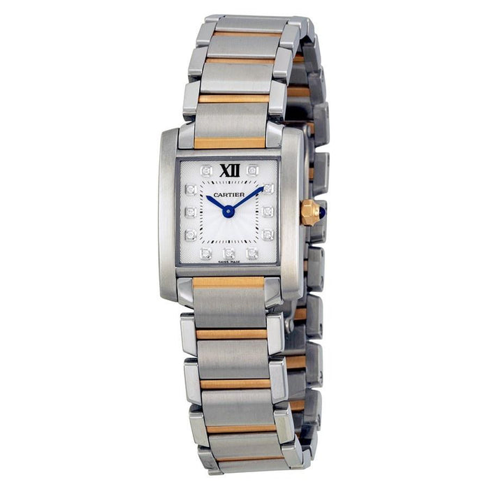Cartier Tank Francaise Quartz 18K Rose Gold Diamond Two-Tone Stainless Steel Watch WE110004