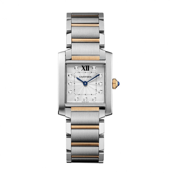 Cartier Tank Quartz Diamonds Two-Tone Stainless Steel Watch WE110005