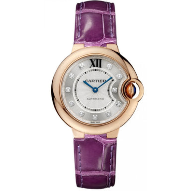 Cartier Ballon Bleu Automatic Purple Leather Watch WE902040