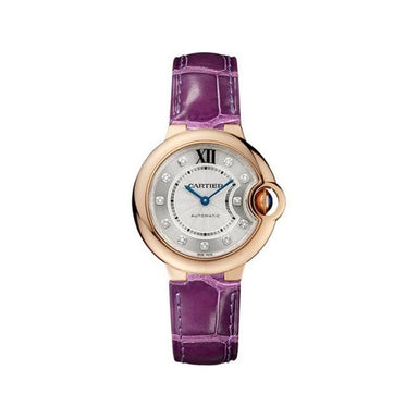 Cartier Ballon Bleu Automatic Diamonds Purple Leather Watch WE902063