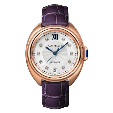 Cartier Cle De Cartier Automatic Diamond Purple Leather Watch WJCL0032