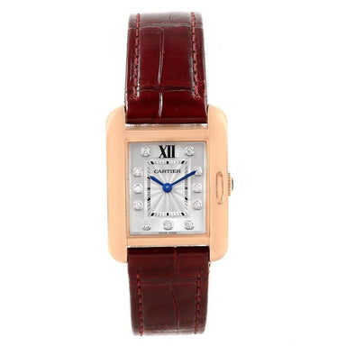 Cartier Tank Quartz Diamond Red Leather Watch WJTA0007