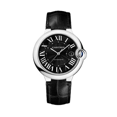 Cartier Ballon Bleu Automatic Black Leather Watch WSBB0003