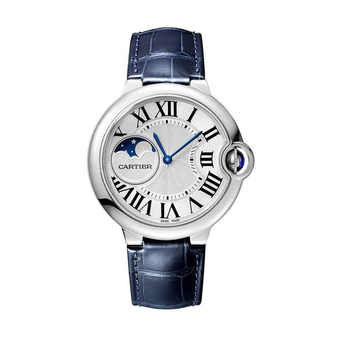 Cartier Ballon Bleu Automatic Blue Leather Watch WSBB0020