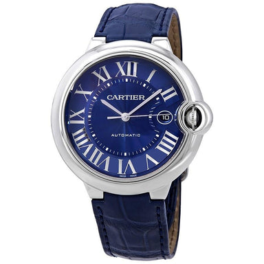 Cartier Ballon Bleu Automatic Blue Leather Watch WSBB0025