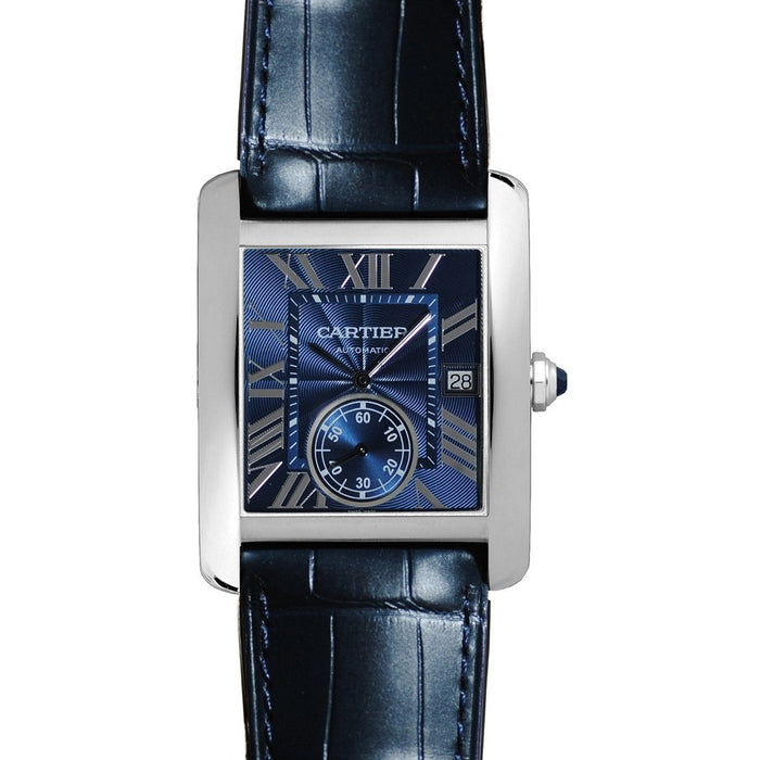 Cartier Tank Automatic Blue Leather Watch WSTA0010