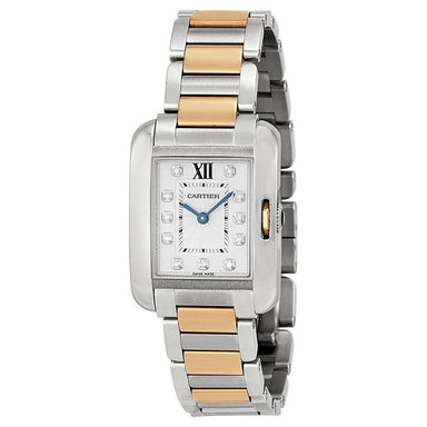 Cartier Tank Anglaise Quartz 18kt Pink Gold Diamond Two-Tone Stainless Steel Watch WT100025