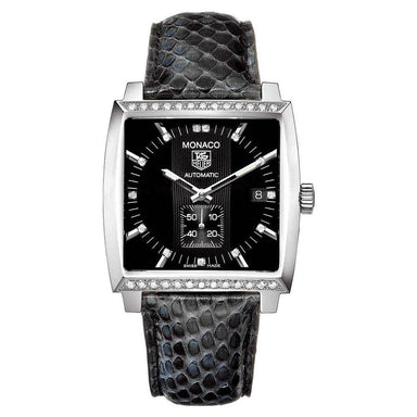 Tag Heuer Monaco Calibre 6 Automatic Diamond Automatic Black Python leather Watch WW2118.FC6216