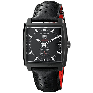 Tag Heuer Monaco Automatic Automatic Black Leather Watch WW2119.FC6338