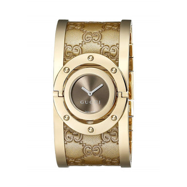 Gucci Twirl Quartz Brown Leather Watch YA112434