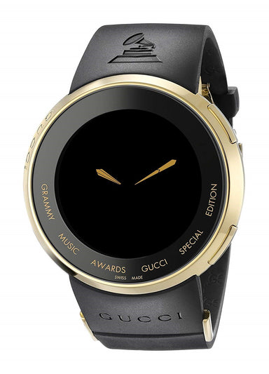 Gucci I-Gucci Quartz Black Rubber Watch YA114215