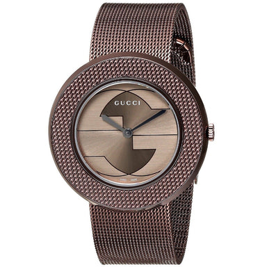 Gucci U-Play Quartz Brown Stainless Steel Watch YA129445