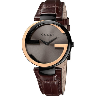Gucci Interlocking-G Quartz Brown Leather Watch YA133304