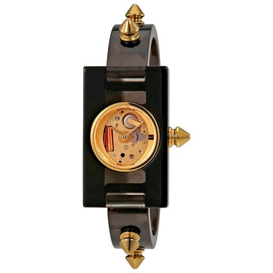 Gucci Vintage Web Quartz Skeleton Black Plexiglass Watch YA143508