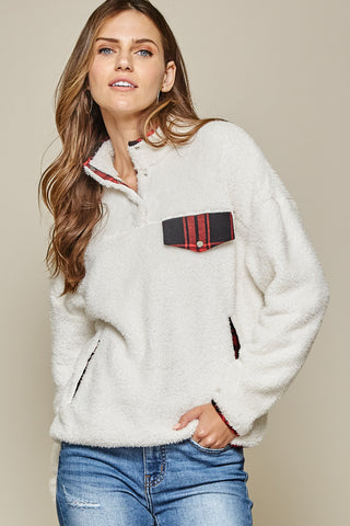 Plaid Contrast Comfy Pullover